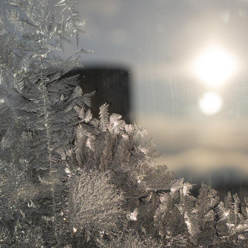 Iskrystall på vindu