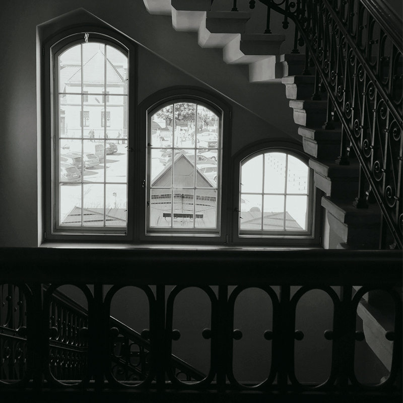 Staircase Windows in Black and White