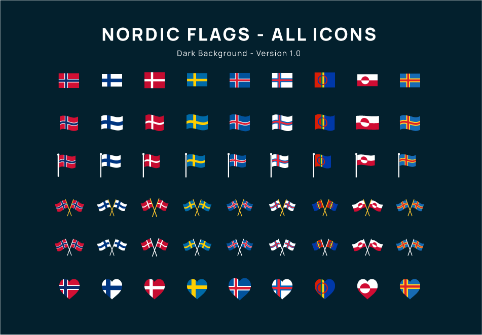 Nordic Flag Icons Dark Backgrond