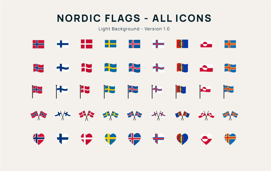 Nordic Flag Icons Light Backgrond
